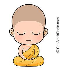 monaco buddistico, cartone animato