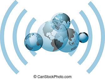 mondi, collegamento, rete globale, wifi