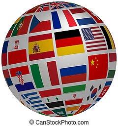 mondo, 3d, infected, mappa, coronovirus., globo, paesi, coronovirus, bandiere