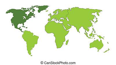 mondo, america, nord, mappa