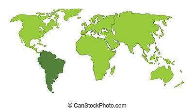 mondo, america, sud, mappa