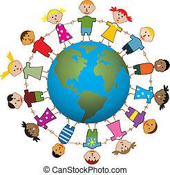 mondo, bambini, intorno