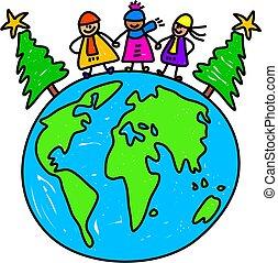 mondo, bambini, natale