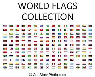 mondo, bandiere, collezione