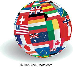 mondo, bandiere, illustrazione