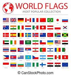 mondo, bandiere, vettore, grafica