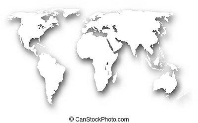 mondo, bianco, mappa