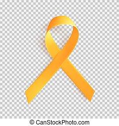 mondo, cancro, infanzia, 15, february., simbolo, realistico, ribbon., oro