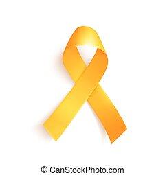 mondo, cancro, infanzia, 15, february., simbolo, ribbon., oro