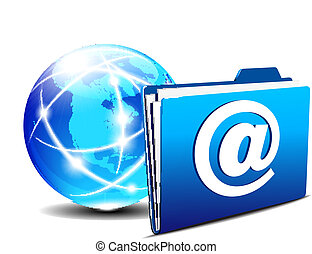 mondo, cartella, email, internet