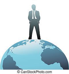 mondo, cima, affari globali, uomo