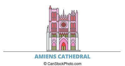 mondo, cityscape, cattedrale, francia, oultine, punto di riferimento, viaggiare, linea, vector., città, illustrazione, appartamento, amiens, icone