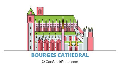 mondo, cityscape, cattedrale, francia, punto di riferimento, oultine, punto di riferimento, viaggiare, bourges, linea, vector., città, illustrazione, appartamento, icone