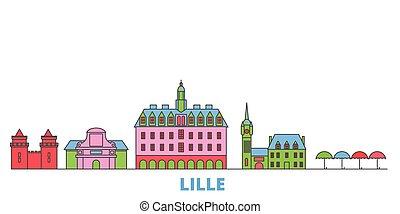 mondo, cityscape, francia, oultine, lille, viaggiare, punto di riferimento, linea, vector., città, illustrazione, appartamento, icone