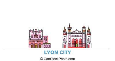mondo, cityscape, francia, oultine, punto di riferimento, lyon, viaggiare, linea, città, vector., illustrazione, appartamento, icone