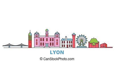 mondo, cityscape, francia, oultine, punto di riferimento, lyon, viaggiare, linea, vector., città, illustrazione, appartamento, icone