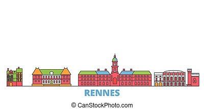 mondo, cityscape, francia, oultine, punto di riferimento, viaggiare, linea, vector., città, illustrazione, appartamento, rennes, icone