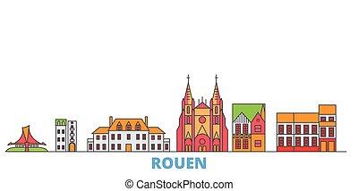 mondo, cityscape, francia, oultine, punto di riferimento, viaggiare, linea, vector., città, illustrazione, appartamento, rouen, icone