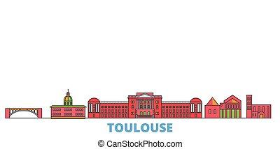 mondo, cityscape, francia, oultine, punto di riferimento, viaggiare, linea, vector., città, illustrazione, appartamento, toulouse, icone