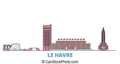 mondo, cityscape, francia, oultine, punto di riferimento, viaggiare, linea, vector., città, illustrazione, appartamento, havre, le, icone
