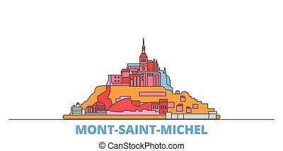 mondo, cityscape, francia, oultine, punto di riferimento, viaggiare, santo, michel, baia, mont, linea, appartamento, vector., città, illustrazione, relativo, icone