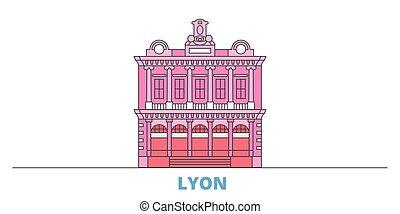 mondo, cityscape, francia, punto di riferimento, oultine, punto di riferimento, lyon, viaggiare, linea, vector., città, illustrazione, appartamento, icone
