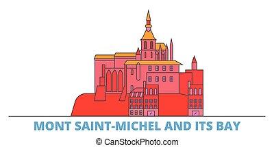 mondo, cityscape, francia, punto di riferimento, oultine, punto di riferimento, viaggiare, santo, michel, linea, mont, illustrazione, appartamento, città, baia, vector., relativo, icone