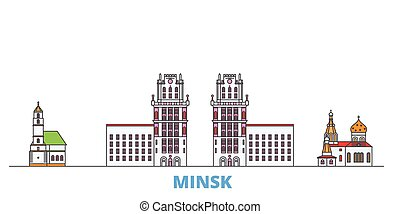 mondo, cityscape, oultine, punto di riferimento, viaggiare, linea, minsk, vector., città, appartamento, illustrazione, bielorussia, icone