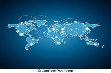 mondo, collegamento, globale, -, mappa