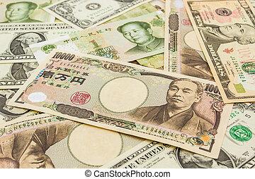 mondo, colorito, fondo, banconote