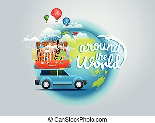 mondo, concept., viaggiante, intorno, vacanza