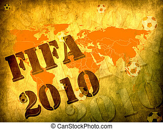 mondo, concetto, 2010, football, tazza