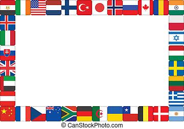 mondo, cornice, fatto, bandiera, icone