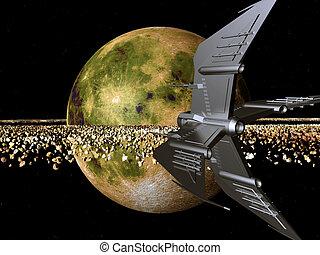 mondo, distante, astronave