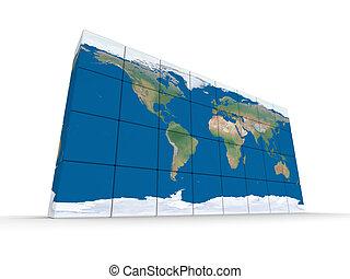 mondo, fatto, blocchi, mappa
