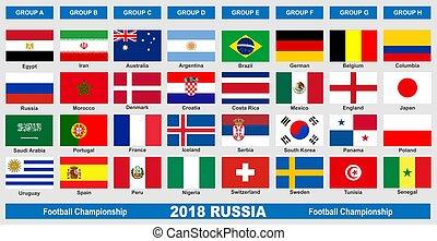 mondo, football, bandiere, 2018, campionato