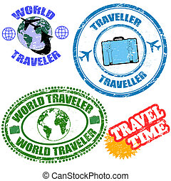 mondo, francobolli, viaggiatore