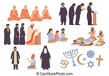 mondo, icone, set, religione
