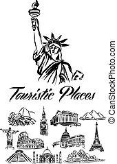 mondo, illustrazione, locali, turistico