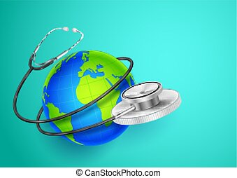 mondo, intorno, esposizione, medico, fondo, terra, salute, giorno, stetoscopio
