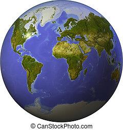 mondo, lato, uno, sfera