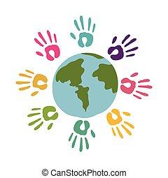 mondo, mani, colorato, intorno