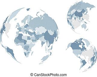 mondo, punteggiato, mappa