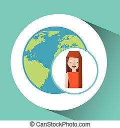 mondo, ragazza, globo, turista, viaggiatore