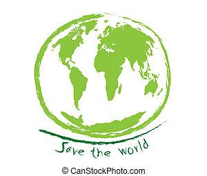 mondo, schizzo, concetto, idea, risparmiare