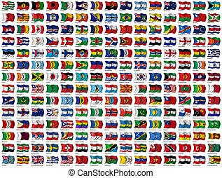 mondo, set, bandiere
