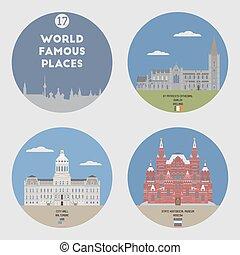 mondo, set, famoso, 17, places.