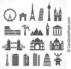 mondo, silhouette, signts, astratto, famoso