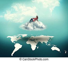mondo, sopra, sognatore