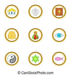 mondo, stile, religione, cartone animato, set, icone